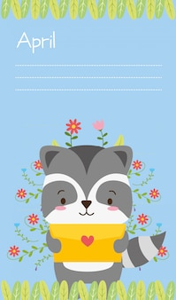 Lindo animal con carta de amor, estilo plano y de dibujos animados, ilustración