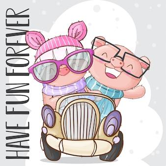 Lindo animal de cerdo en el carro