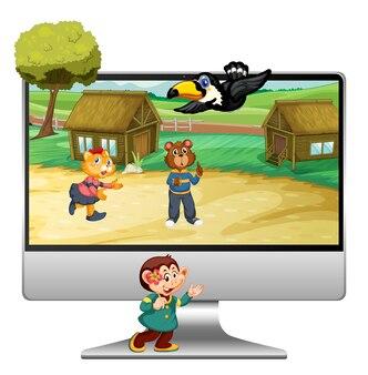 Lindo animal en computadora