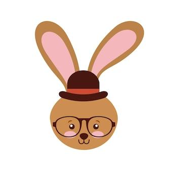 Lindo animal con sombrero y gafas estilo hipster