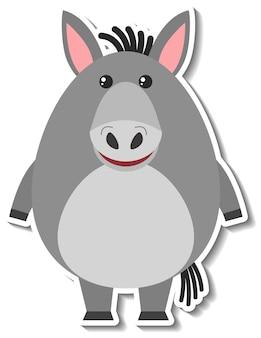 Un lindo animal de dibujos animados burro pegatina