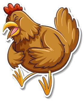 Un lindo animal de dibujos animados de pollo pegatina