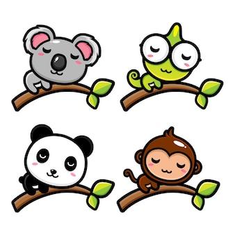 Lindo animal de dibujos animados relajante