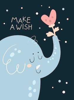 Lindo animal elefante con flor de corazón. hacer un deseo de cumpleaños
