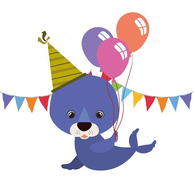 Lindo animal de foca con globo de helio