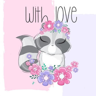 Lindo animal mapache con flor de borde