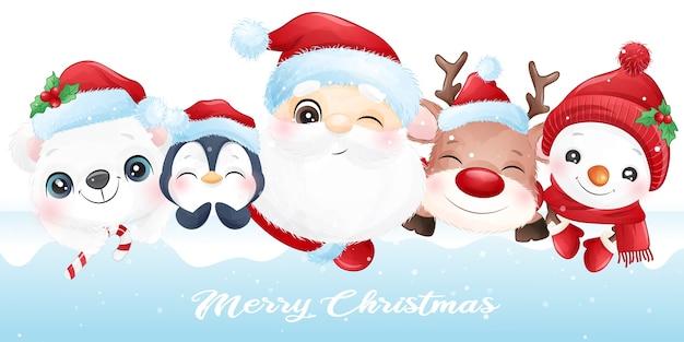 Lindo animal para navidad con banner de acuarela