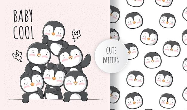 Lindo animal pingüino con un conjunto de patrones de amigos