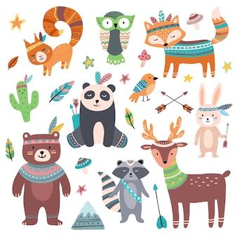 Lindo animal tribal zoo de animales salvajes del bosque, flechas de plumas de aves tribales y conjunto de dibujos animados de bestia salvaje aislado