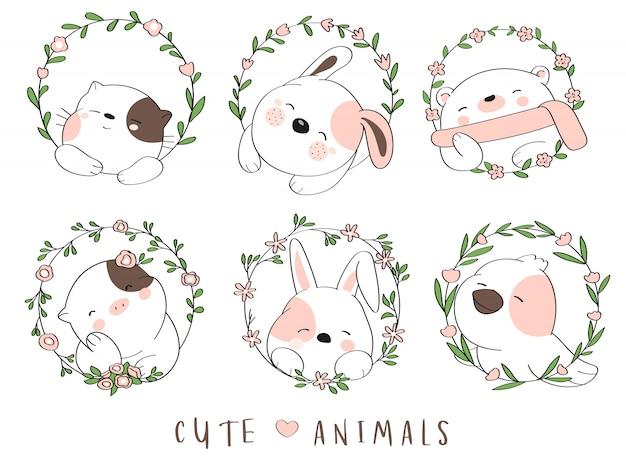 Lindo animalito bebé con estilo de dibujos animados de flores borde dibujado a mano