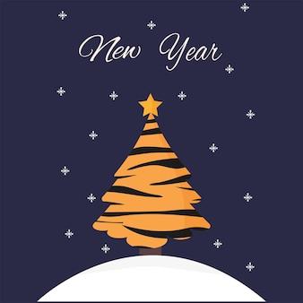 Lindo árbol de navidad en color tigre sobre un ventisquero los copos de nieve caen sobre un fondo oscuro