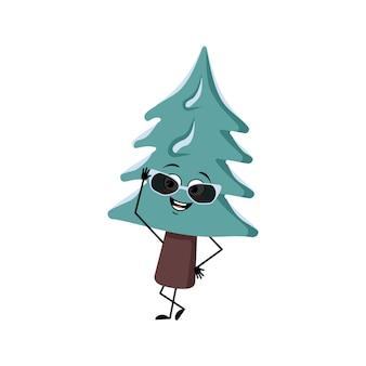 Lindo árbol de navidad con gafas y emociones alegres sonrisa feliz manos y piernas pino con ojos nuevo y ...