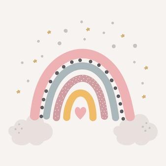 Lindo arco iris de colores con gotas y corazón aislado.