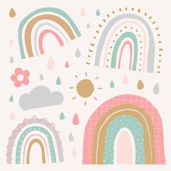 Lindo arco iris en el conjunto de vectores de estilo doodle