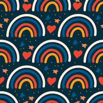 Lindo arco iris minimalista con estrellas y nubes de colores de moda de patrones sin fisuras