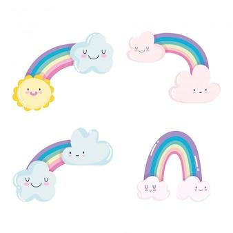 Lindo arco iris nubes sol clima cielo dibujos animados decoración vector ilustración