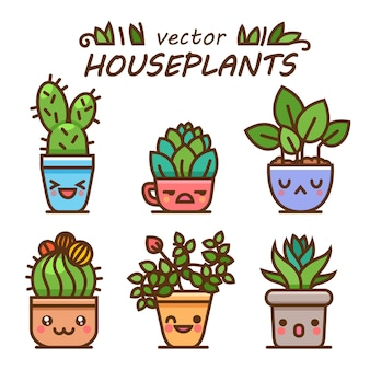 Lindo arte adorable de plantas de interior kawaii. kawaii caras macetas. estilo de dibujos animados