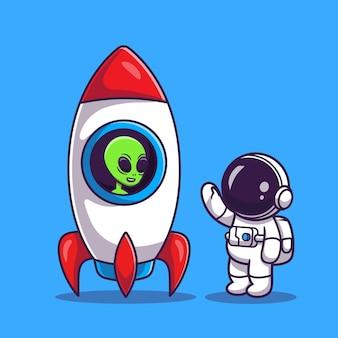 Lindo astronauta con alienígena en dibujos animados de cohetes