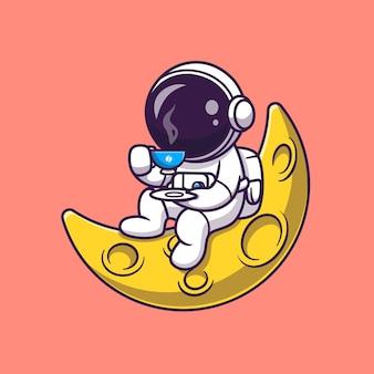 Lindo astronauta bebiendo café en la luna de dibujos animados