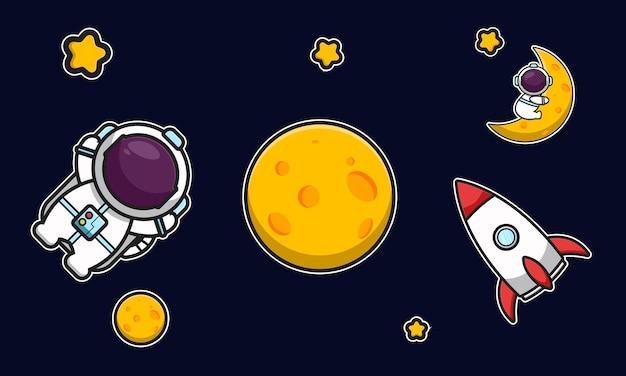 Lindo astronauta y cohete en el espacio con ilustración de icono de vector de dibujos animados de luna amarilla. vector aislado del concepto del icono de la tecnología de la ciencia. estilo de dibujos animados plana