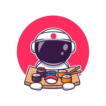 Lindo astronauta comiendo dibujos animados de sushi. concepto de icono de comida de ciencia aislado. estilo de dibujos animados plana