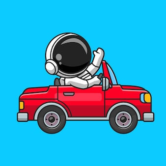 Lindo astronauta conduciendo fuera de carretera ilustración de icono de vector de dibujos animados de coche. concepto de icono de transporte de tecnología aislado vector premium. estilo de dibujos animados plana