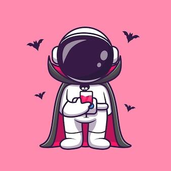 Lindo astronauta drácula bebe sangre dibujos animados vector icono ilustración. concepto de icono de vacaciones de ciencia aislado vector premium. estilo de dibujos animados plana