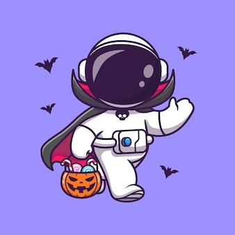 Lindo astronauta drácula sosteniendo el icono de vector de dibujos animados de caramelo de cesta de calabaza. concepto de icono de vacaciones de ciencia aislado vector premium. estilo de dibujos animados plana