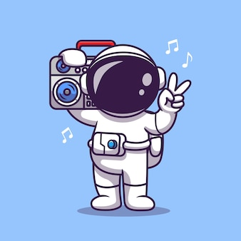 Lindo astronauta escuchando música con boombox cartoon icon illustration. concepto de icono de tecnología de ciencia