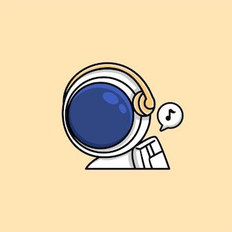 Lindo astronauta escuchando música en dibujos animados de auriculares inalámbricos
