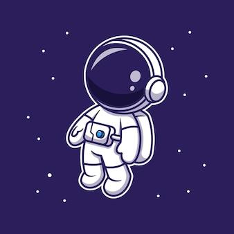 Lindo astronauta flotando en el espacio, personaje de dibujos animados