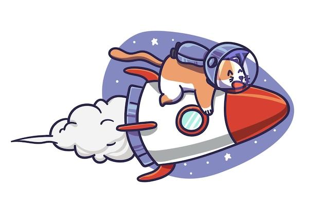 Lindo astronauta gato personaje paseo ilustración cohete espacial