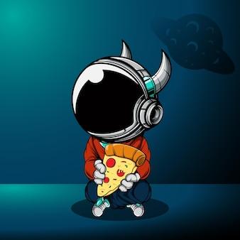 Lindo astronauta con gran rebanada de pizza en el espacio