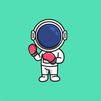 Lindo astronauta con guantes de boxeo deporte dibujos animados