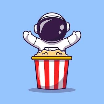 Lindo astronauta con ilustración de icono de vector de dibujos animados de palomitas de maíz. icono de comida de ciencia