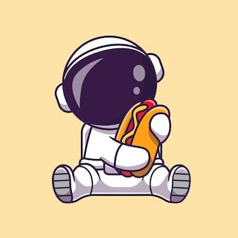 Lindo astronauta con ilustración de icono de vector de dibujos animados de perro caliente. concepto de icono de comida de ciencia aislado vector premium. estilo de dibujos animados plana