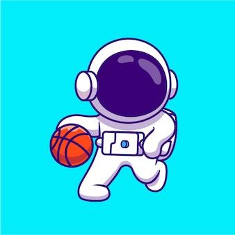 Lindo astronauta jugando baloncesto ilustración de dibujos animados. concepto de ciencia deporte aislado historieta plana