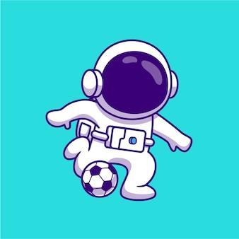 Lindo astronauta jugando fútbol ilustración de dibujos animados de fútbol. concepto de ciencia deporte aislado historieta plana