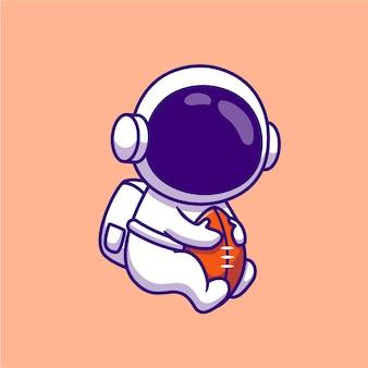 Lindo astronauta jugando ilustración de dibujos animados de pelota de rugby. concepto de ciencia deporte aislado historieta plana