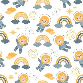 Lindo astronauta león animal dibujos animados patrón inconsútil