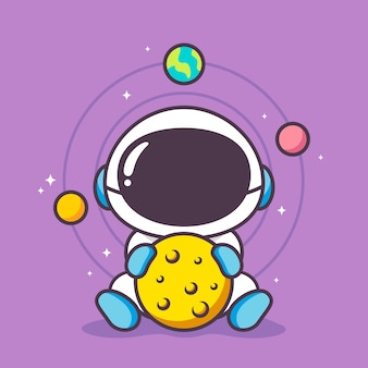Lindo astronauta con luna en forma de bola