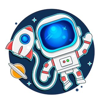 Lindo astronauta mantiene un globo abstracto como una luna. dibujado a mano. infantil cósmico