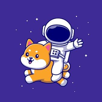 Lindo astronauta montando perro shiba inu en la ilustración de icono de vector de dibujos animados de espacio. concepto de icono de animales de personas aislado vector premium. estilo de dibujos animados plana