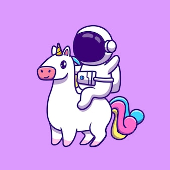 Lindo astronauta montando unicornio caballo icono de dibujos animados ilustración.