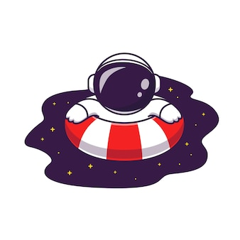Lindo astronauta nadando en la ilustración de dibujos animados de piscina espacial