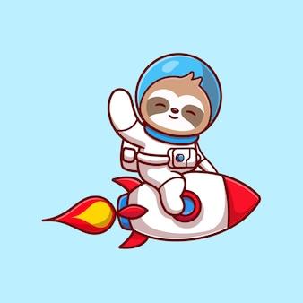 Lindo astronauta perezoso montando cohete y agitando la mano ilustración de icono de vector de dibujos animados. concepto de icono de tecnología animal aislado vector premium. estilo de dibujos animados plana