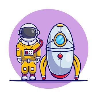 Lindo astronauta de pie con ilustración de dibujos animados de cohetes