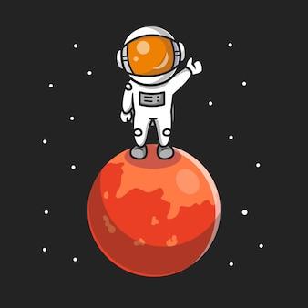 Lindo astronauta de pie en la ilustración de icono de dibujos animados de planeta.