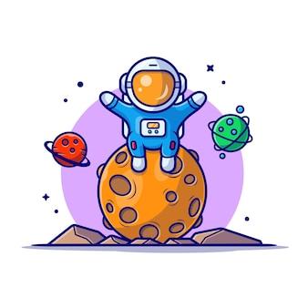 Lindo astronauta sentado en la ilustración de icono de dibujos animados de espacio de planeta.