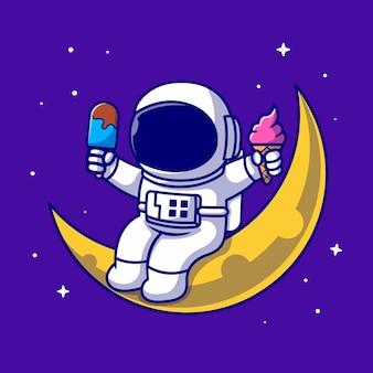 Lindo astronauta sentado en la luna y sosteniendo la ilustración del icono de dibujos animados de helado. icono de alimentos de ciencia aislado. estilo de dibujos animados plana